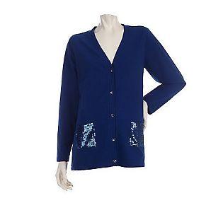 Quacker Factory Long Sleeve Knit Cardigan w/Sequin Pockets ...