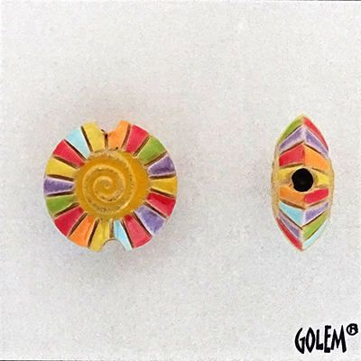 Rainbow Spiral With Yellow Center Lentil Bead, Hand Carved And Hand Glazed Beads, Golem Beads, Large Hole Beads For Kumihimo by JasmineTeaDesigns on Etsy