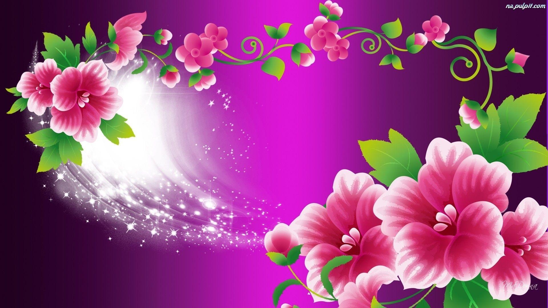 Grafika Fioletowe Kwiaty Rozowe Tlo Na Pulpit Power Wallpaper Flower Photos Wallpaper