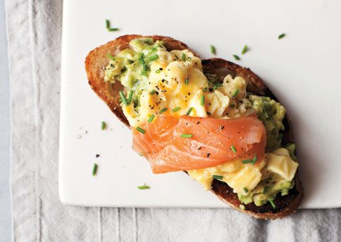 scrambled eggs, avocado and smoked salmon on toast