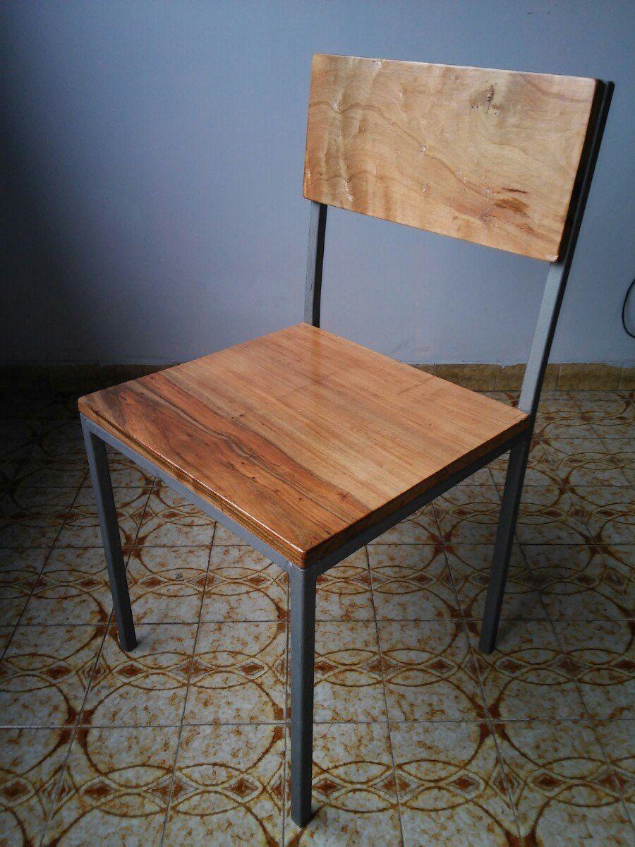 Silla hierro y madera dura dise o industrial hierro for Sillas de comedor altas