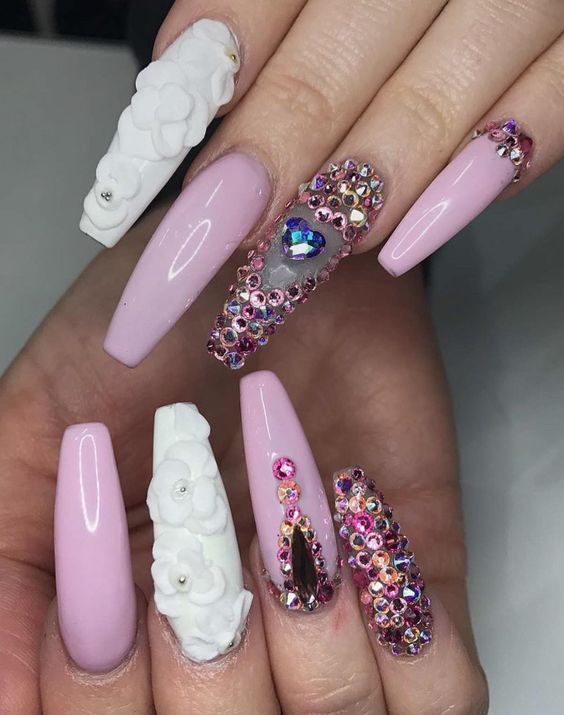 Nail Art Designs With Rhinestones Pink Flowers Gems