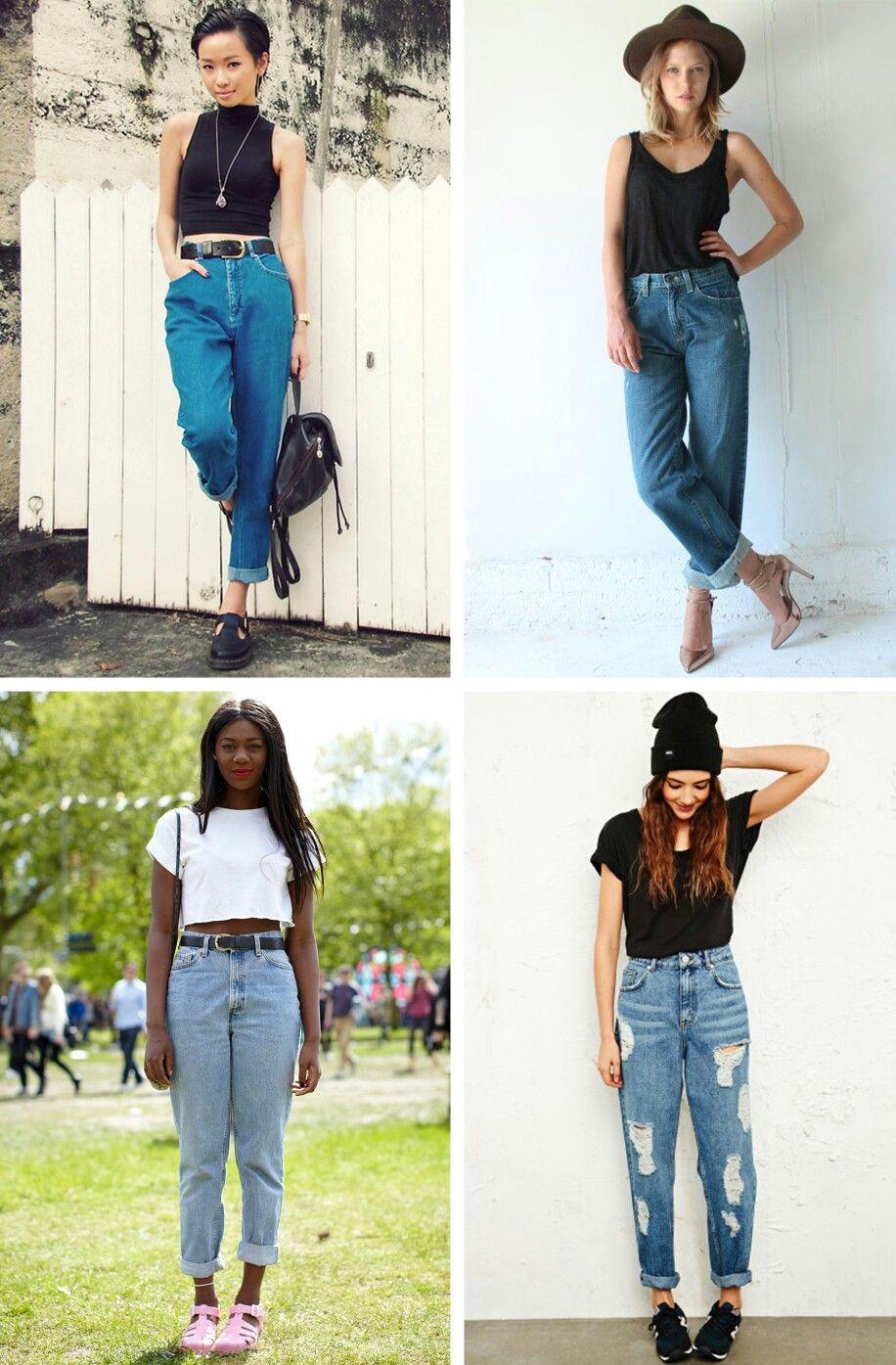 75a1a5afbb7 Мом джинсы с чем носить