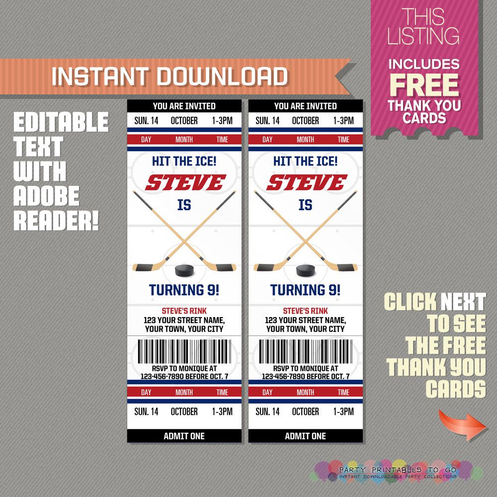 Ice Hockey Ticket Invitation with FREE Thank you Card Ice Hockey
