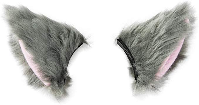 Amazon Com Baobao Cat Fox Long Fur Ears Hair Clip Anime Neko Cosplay Halloween Costume Gray Pink Clothing Ear Hair Hair Clips Halloween Costumes