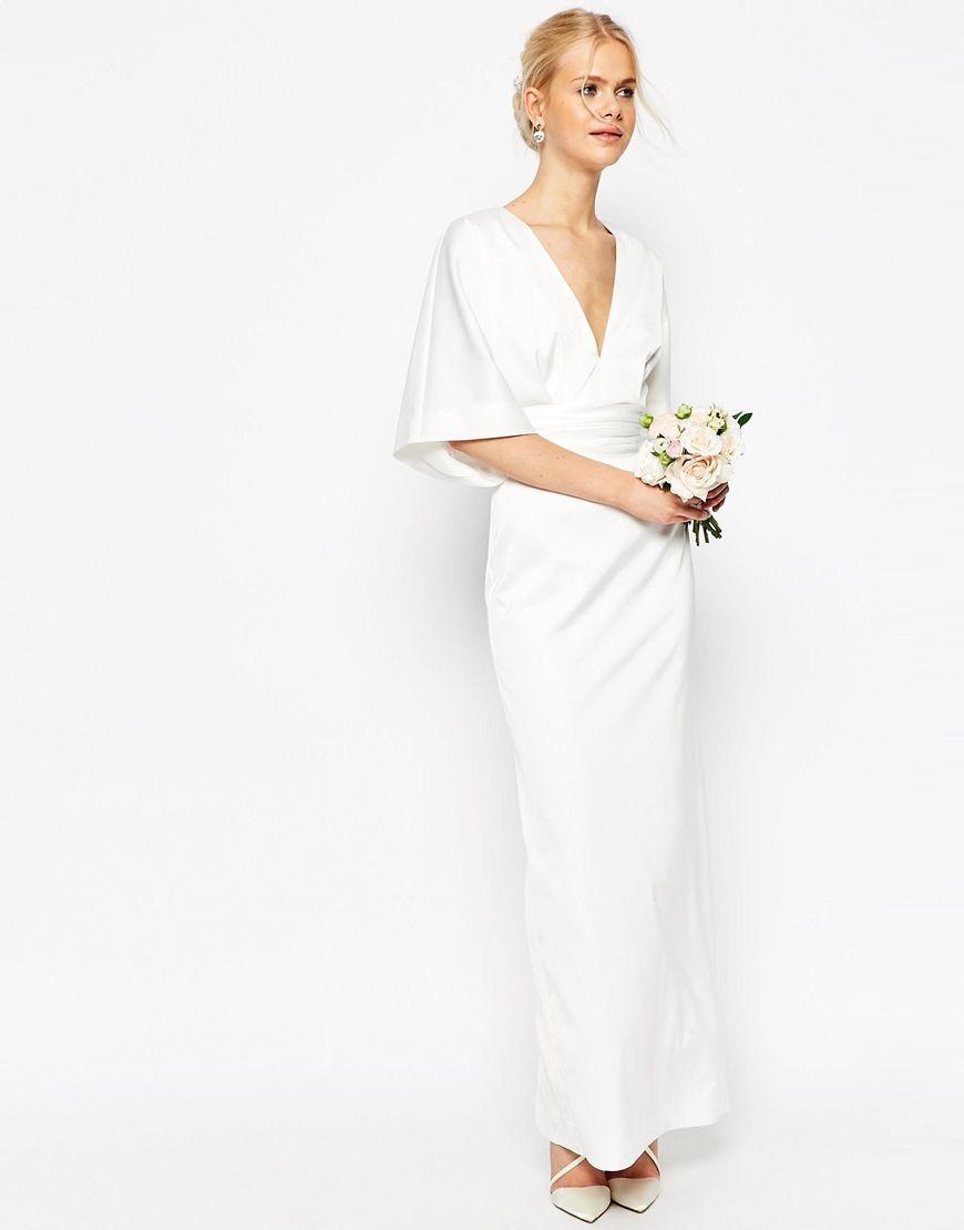 Image 1 of ASOS BRIDAL Kimono Deep V Fishtail Maxi Dress | For Time ...