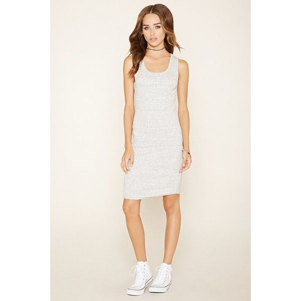 Forever 21 Women's  Ribbed Knit Bodycon Dress ($13) ❤ liked on Polyvore featuring dresses, no sleeve dress, sleeveless bodycon dress, white body con dress, body con dress and full length dress