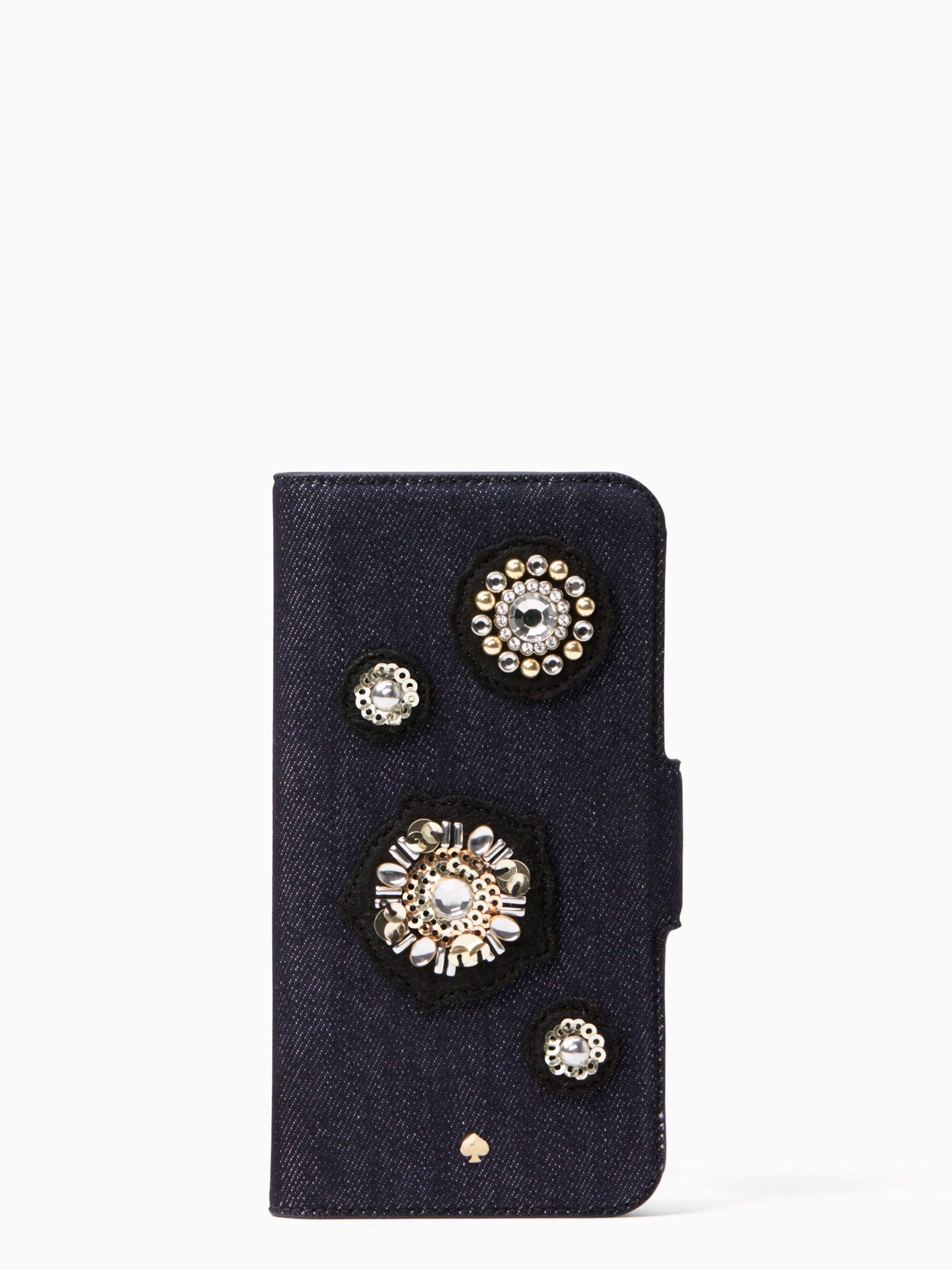 Kate spade denim embellished folio iphone 78 case multi