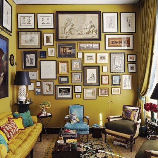Room of the Day ~ turquoise accents in this mustard-green room  - home of designer William Brockschmidt