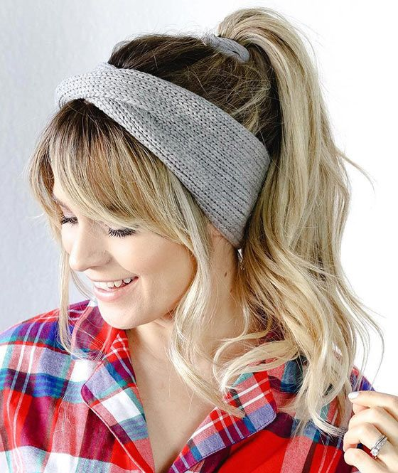 ee73bf941bf0 Hairstyles For Big Foreheads - Knit Headband Ponytail