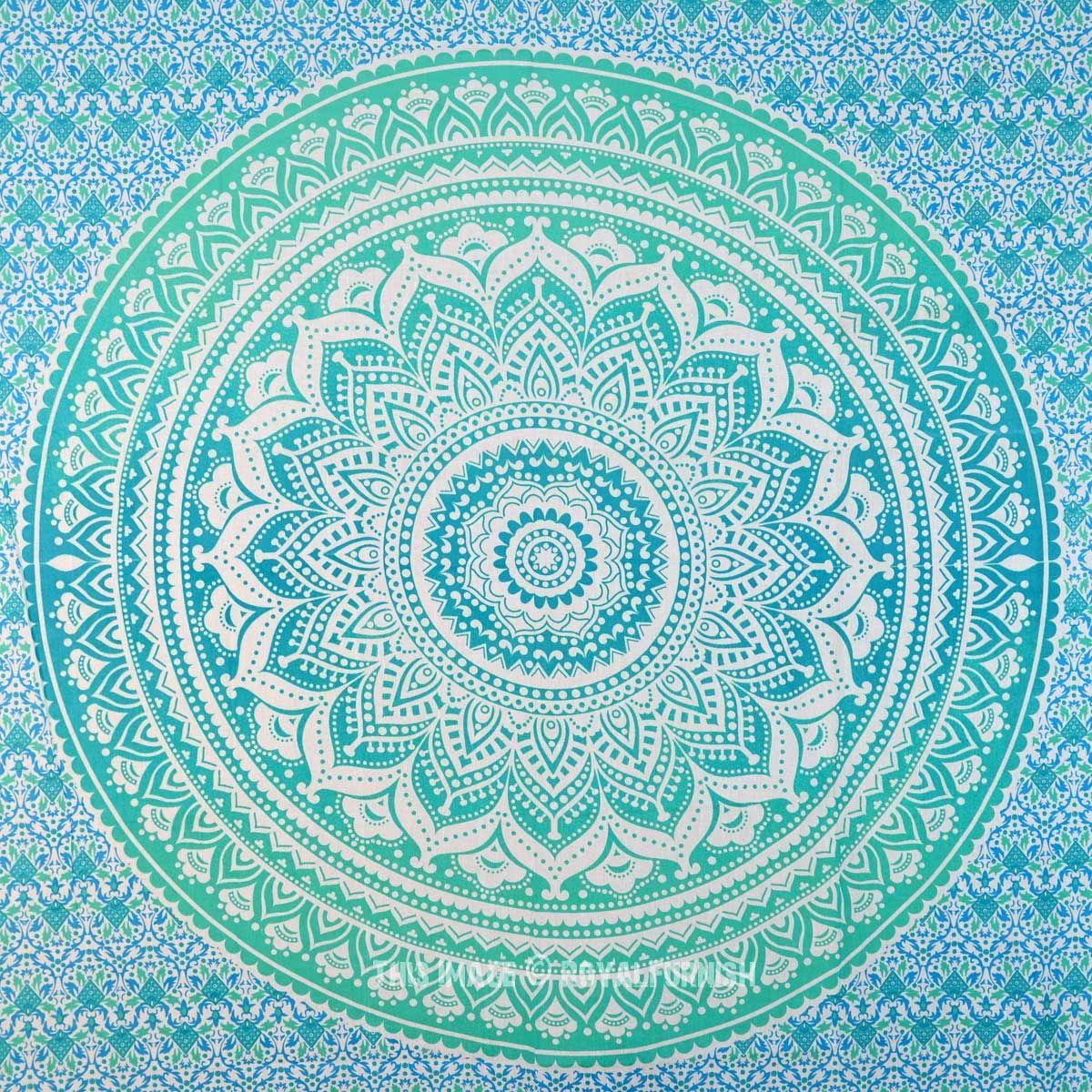 Blue multi elephants sun ombre mandala wall tapestry royalfurnish - Small Green Floral Circle Ombre Wall Tapestry Mandala Hippie Tapestry On Royalfurnish Com