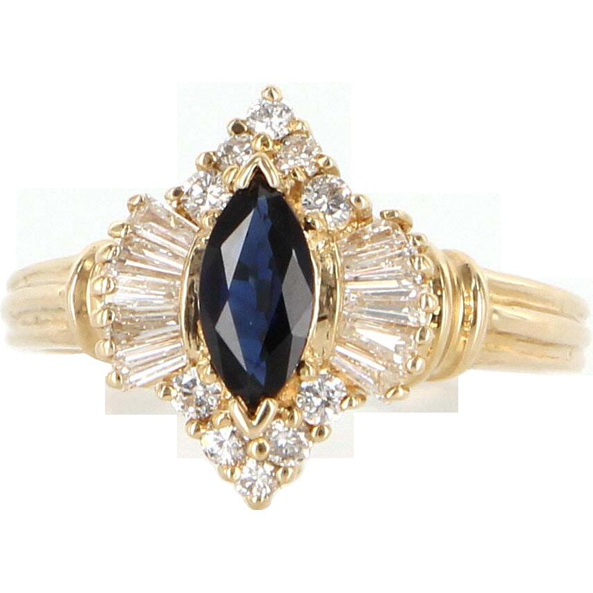 a253dbd815e Ruby Lane Red Tag 50% Off Sale! - Vintage 14 Karat Yellow Gold Sapphire  Diamond Cocktail Ring Fine Estate Jewelry