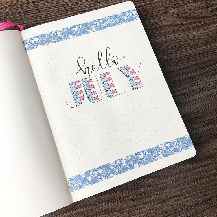 28+ Bullet Journal Cover Page Ideas for July - Beautiful Dawn Designs