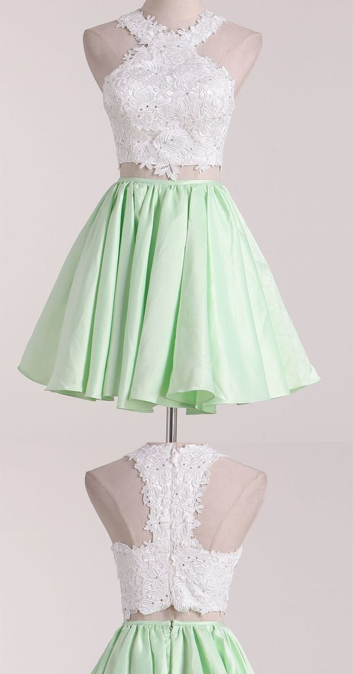 two piece green satin short school event dress white applique halter evening dress sleeveless party dress midi dress,GGD531387 - Dance dresses, Homecoming dresses, Dresses for teens, Midi dress party, Evening dresses, Homecoming dresses short - cm Occasion Date          2, How to Order Step1 click on  Add to Cart  Step 2 choose check out Step 3 fill your Standard size or Custom size,to make perfect fit,we suggest fill your custom size,please read  How to Measure  Step 4 Check Out,and write your detail shipping information including shipping phone no  3, Delivery time Rush order within 15 days, please add $30 00, Total time 2030 days Processing time 1320 business days Shipping Time 710 business days 4, Shipping by UPS or DHL,and so on 5, Payment Paypal 6,Customers Need To Know  All of the dresses are not  on the shelf  We strongly recommend you to select  Custom Made  to ensure the dress will fit you when it arrives  Our tailors will craft each dress to order even for a standard size   Return Policy We will accept returns if dresses have quality problems, wrong delivery time, we also hold the right to refuse any unreasonable returns, such as wrong size you gave us or standard size which we made right, but we offer free modify  We provide custom dresses,only after you put the order ,then the dress will be made So after you receive the dress,just because you don't like it,without any quality problems,we can not accept return Hope understanding  Please see following for the list of quality issues that are fully refundable for Wrong Size, Wrong Color, Wrong style, Damaged dress 100% Refund or remake one or return 50% payment to you, you keep the dress  In order for your return or exchange to be accepted, please carefully follow our guide 1  Contact us within 2 days of receiving the dress (please let us know if you have some exceptional case in advance) 2  Provide us with photos of the dress, to show evidence of damage or bad quality, this also applies for the size, or in