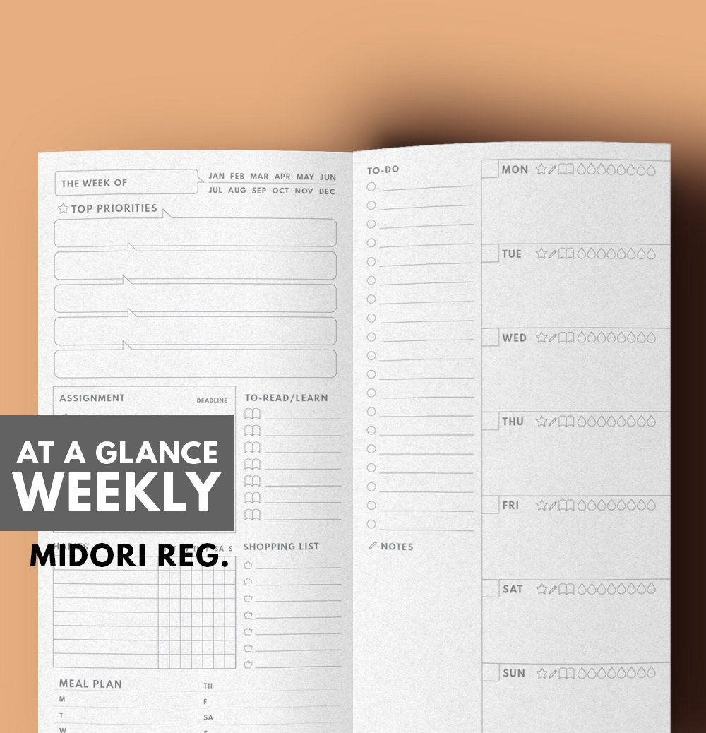 AT A GLANCE WEEKLY Planner, Midori Insert Printable,Weekly To do ...