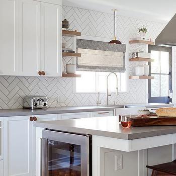 White Herringbone Kitchen Backsplash Tiles With Gray Grout Grey