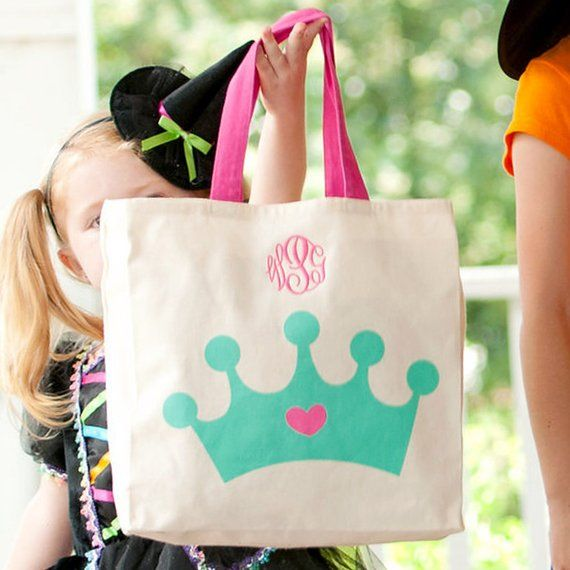 Halloween Trick Or Treat Bags Personalized.Princess Crown Halloween Treat Bags Personalized Trick Or