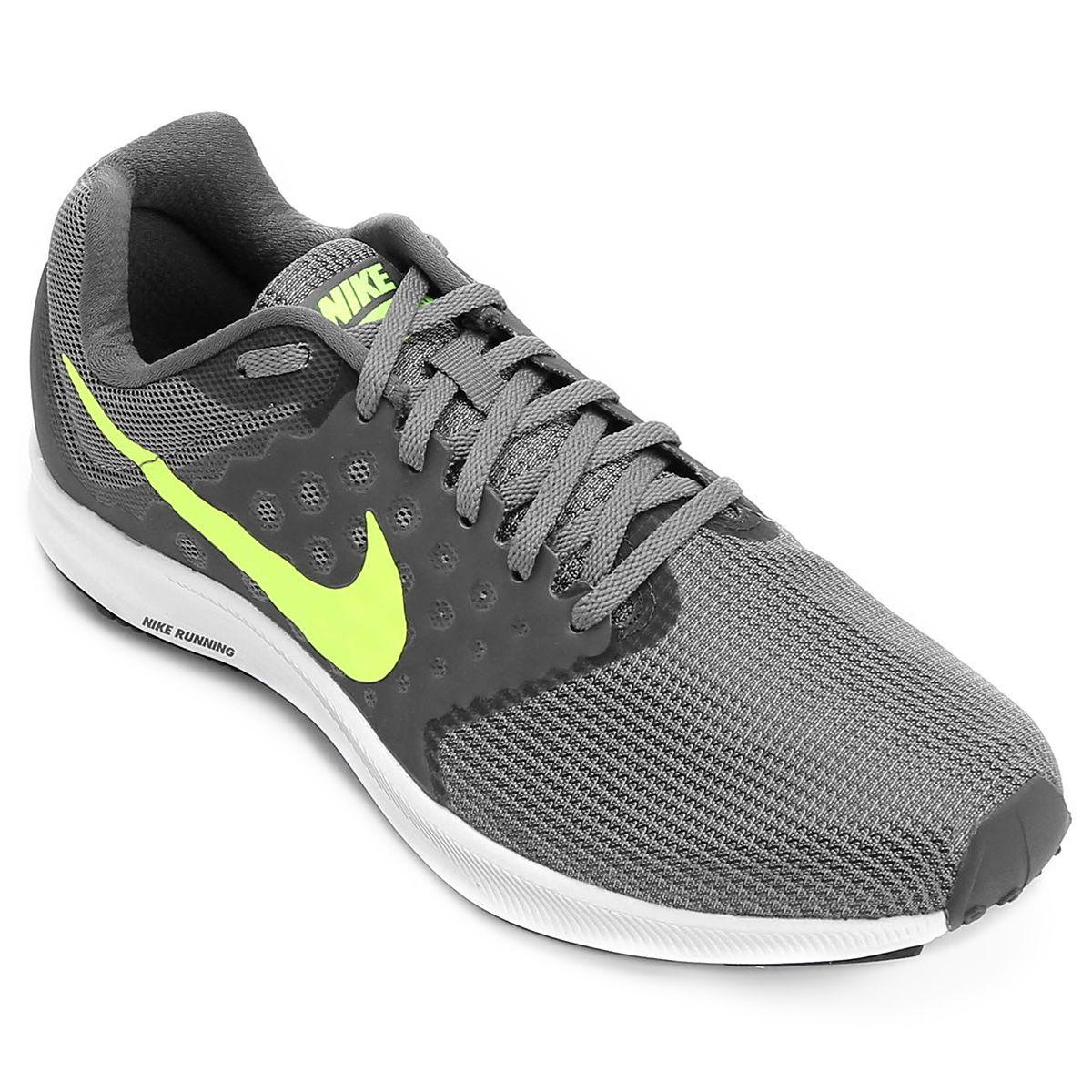 fa694e5a331 Tênis Nike Downshifter 7 Masculino - Cinza e Verde Limão