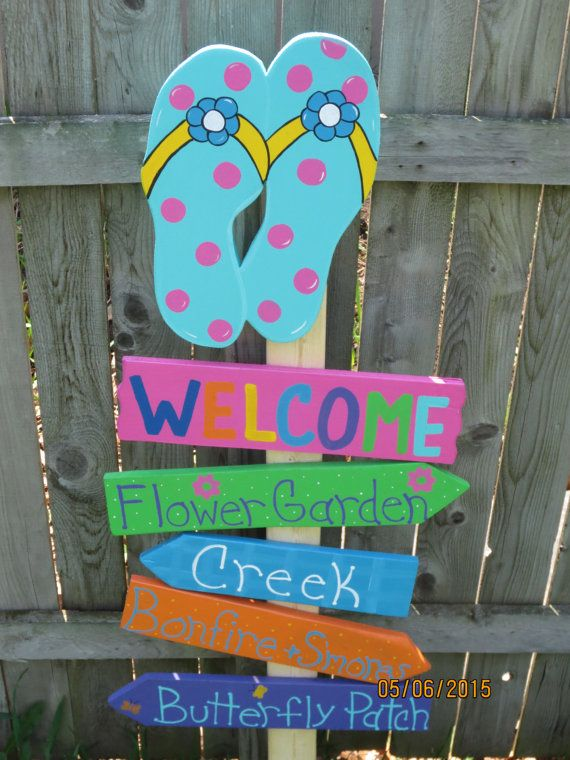 Summer Welcome Flip Flop Direction Arrow Wood Garden Yard Art Outdoor Sign Erfly Patch