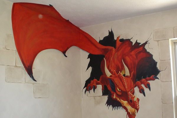 Flying Red Dragon Wall Murals Ideas