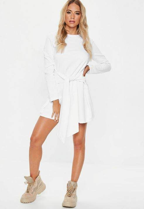 743e5a56667  33.00 - White Tie Waist Sweater Dress - long sleeve white  sweater  dress  with