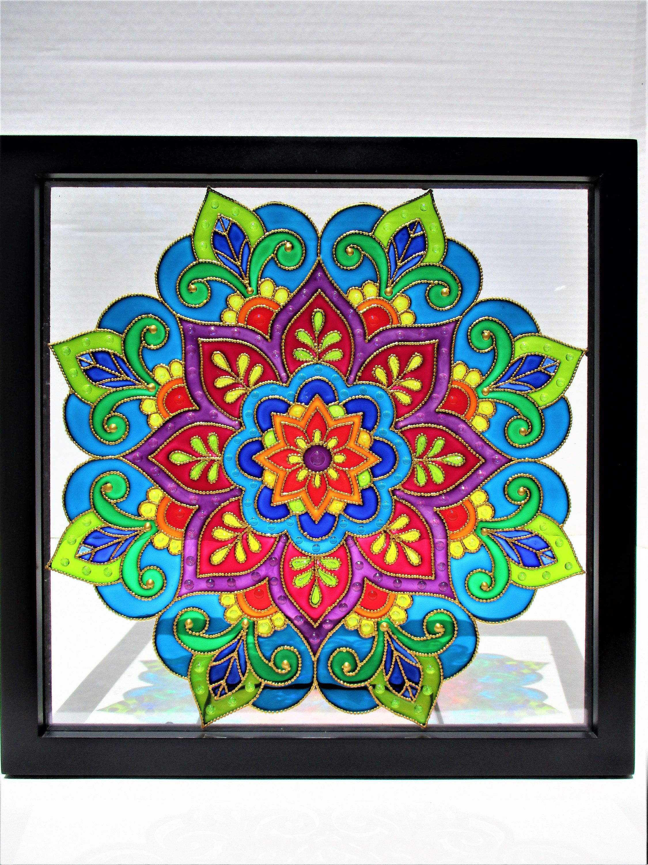 Mandala Art Glass Painting Bohemian Decor Stained Glass Glass Art Wall Art Window Decor Sun Catcher Modern Art Etsy Spiritual Art Colorful Glass Painting Mandala Art Glass Wall Art
