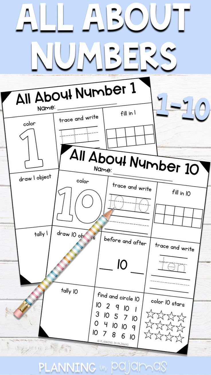Number Representations from 1 to 10 Number worksheets