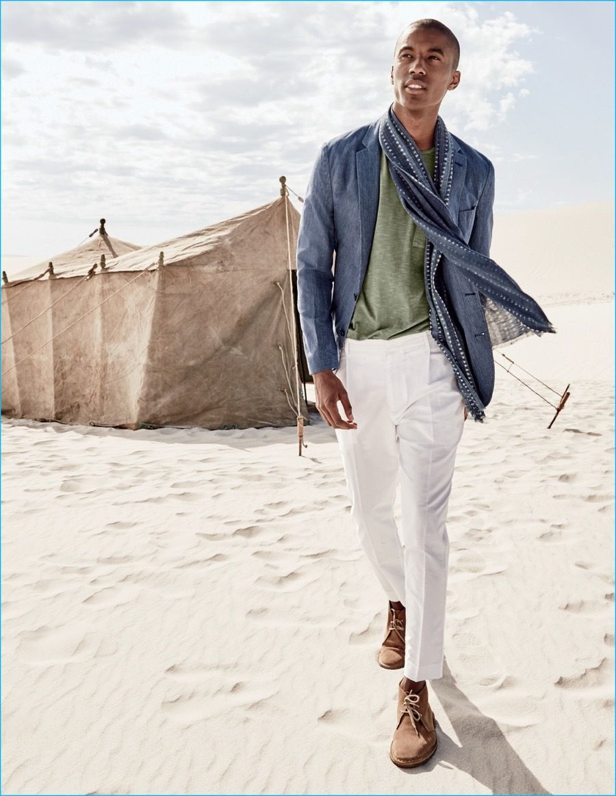 Men's Blue Linen Blazer, Olive Crew-neck T-shirt, White Dress Pants, Brown  Suede Desert Boots