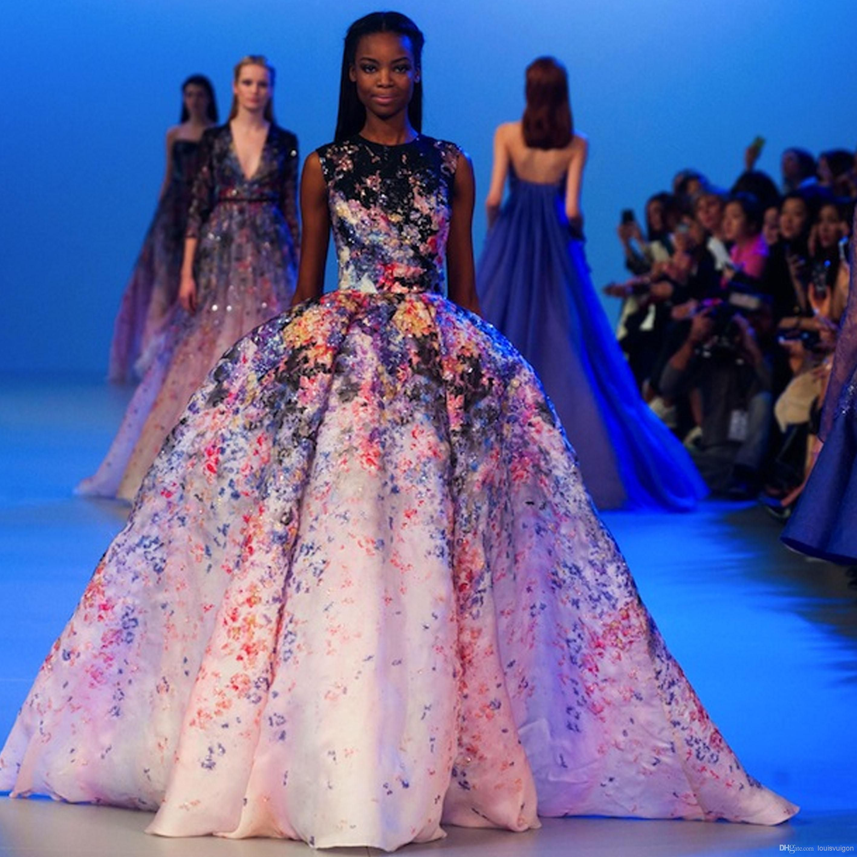Celebrity Dress Elie Saab Evening Dress O Neck Ball Gown Print Flower Off The Shoulder Floor Length Custome From Louisvuigon 284 53 Dhgate Com Celebrity Dresses Evening Dresses Gowns