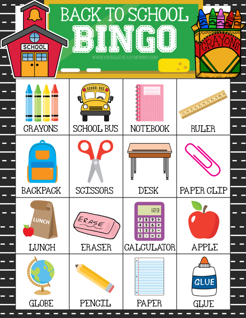 Free Printable Back To School BINGO Game Cards Bingo