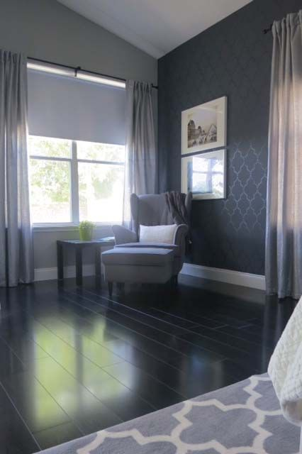 Grey Stenciled Walls With Wood Floors