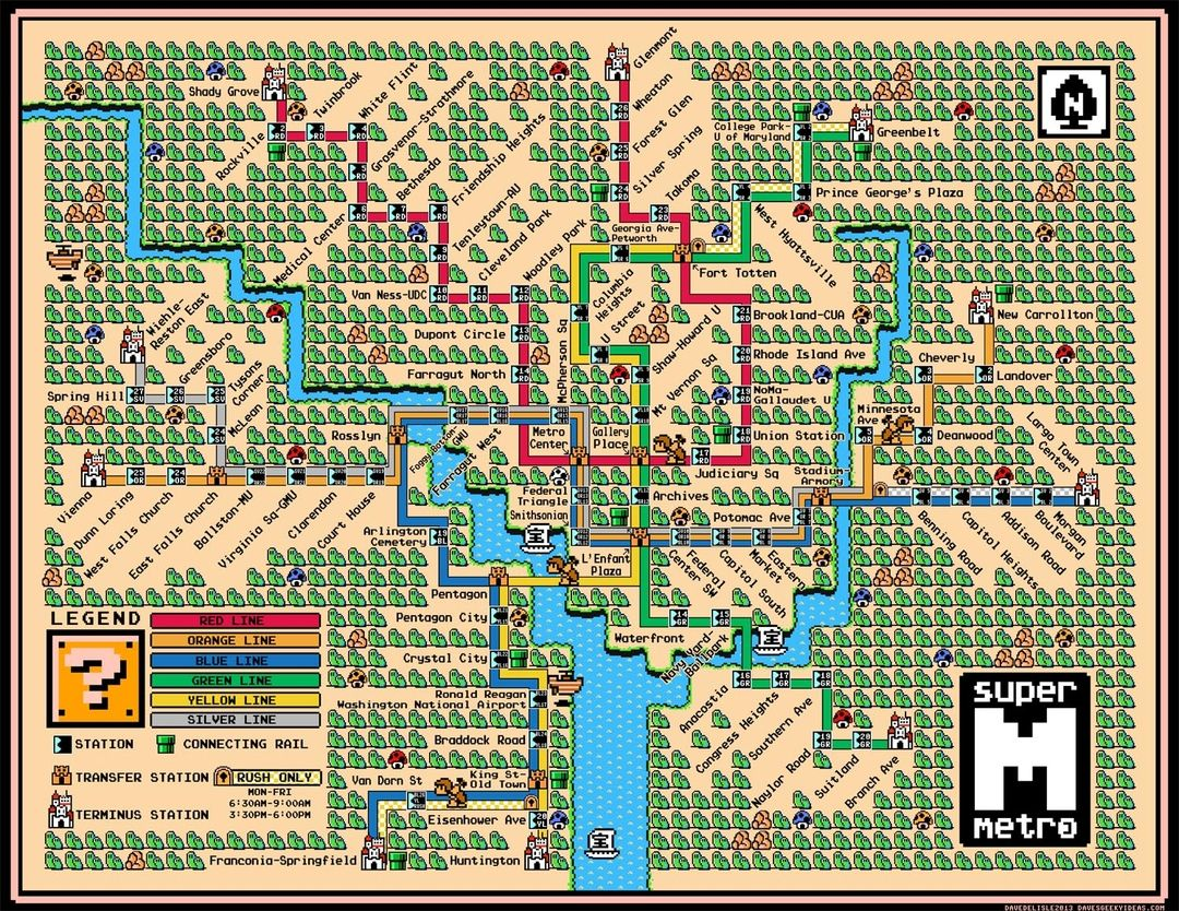Famous Subway Maps Reimagined As Vintage Super Mario Brothers - Washington dc pyramid map