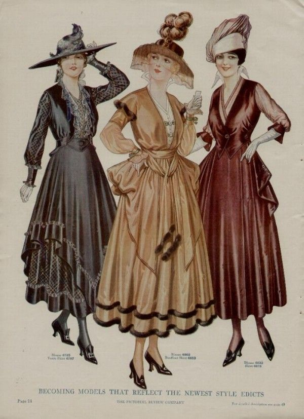 The Fuller Skirts Were All The Rage In 1915 But By 1918 The Skirt Silhouette Had Narrowed