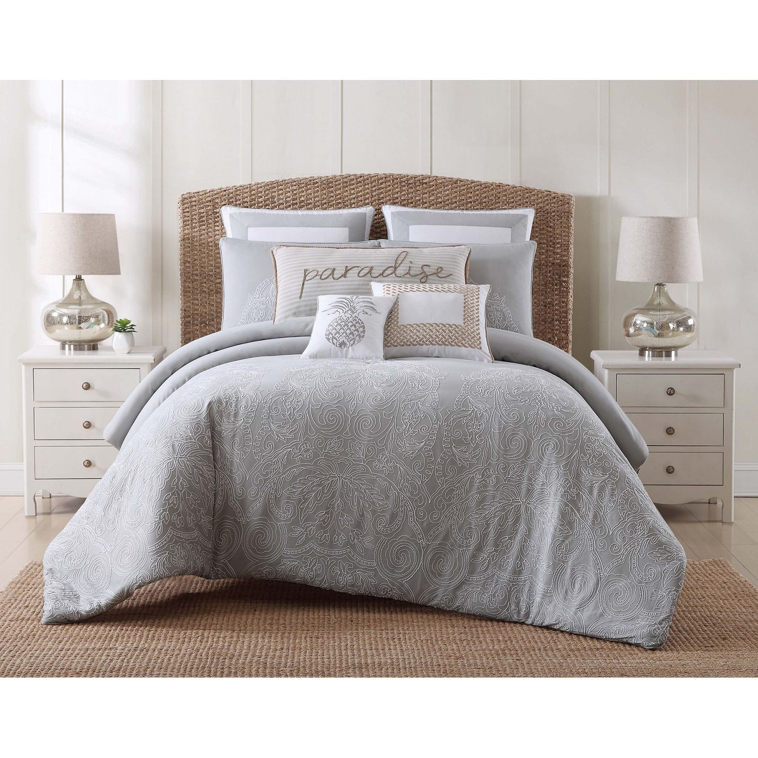 Embroidered Paradise Gray Full Queen Comforter Set Pier 1
