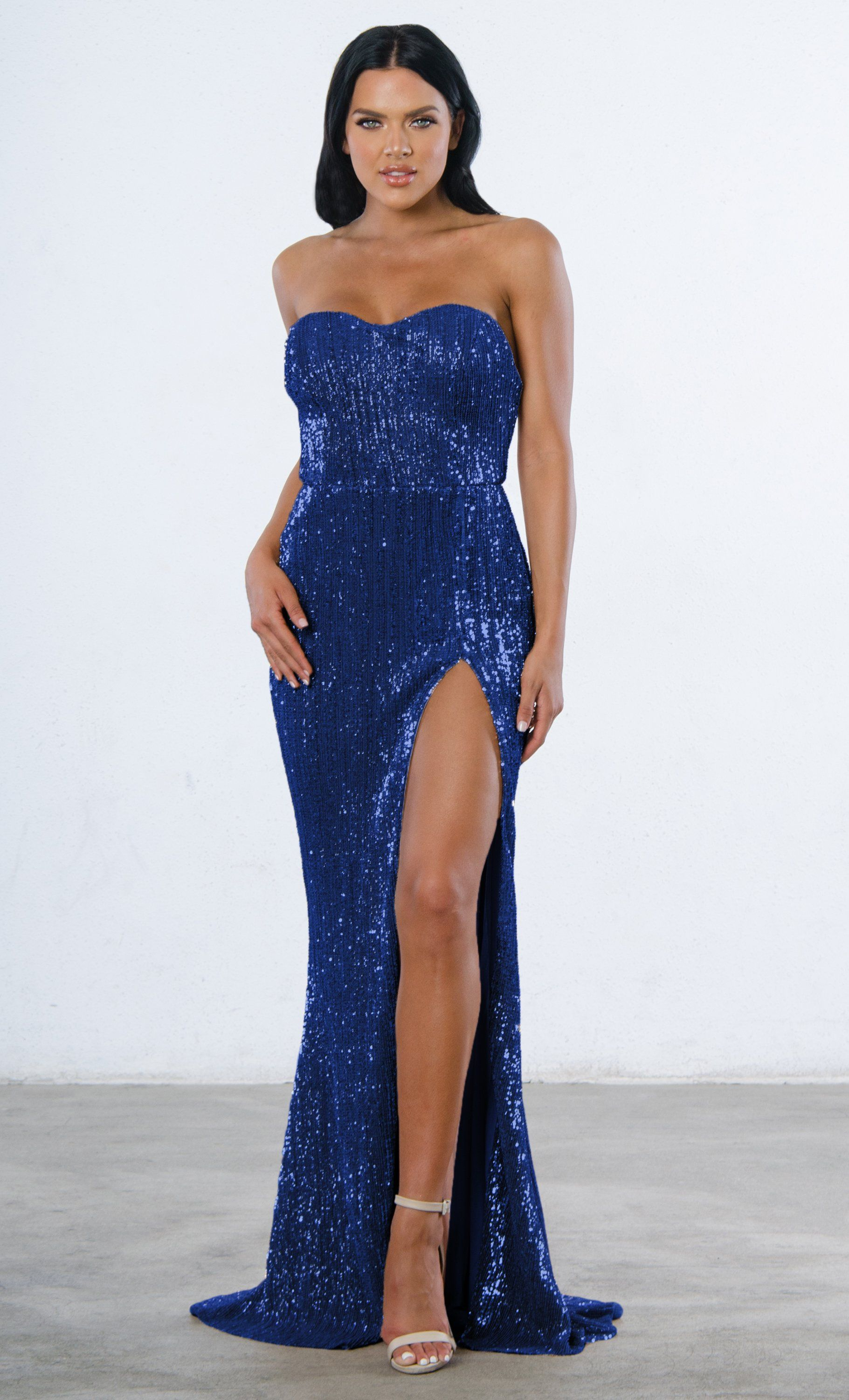 0a2fcc794713 Indie XO Show Me Some Love Blue Sequin Strapless Sweetheart Neck High