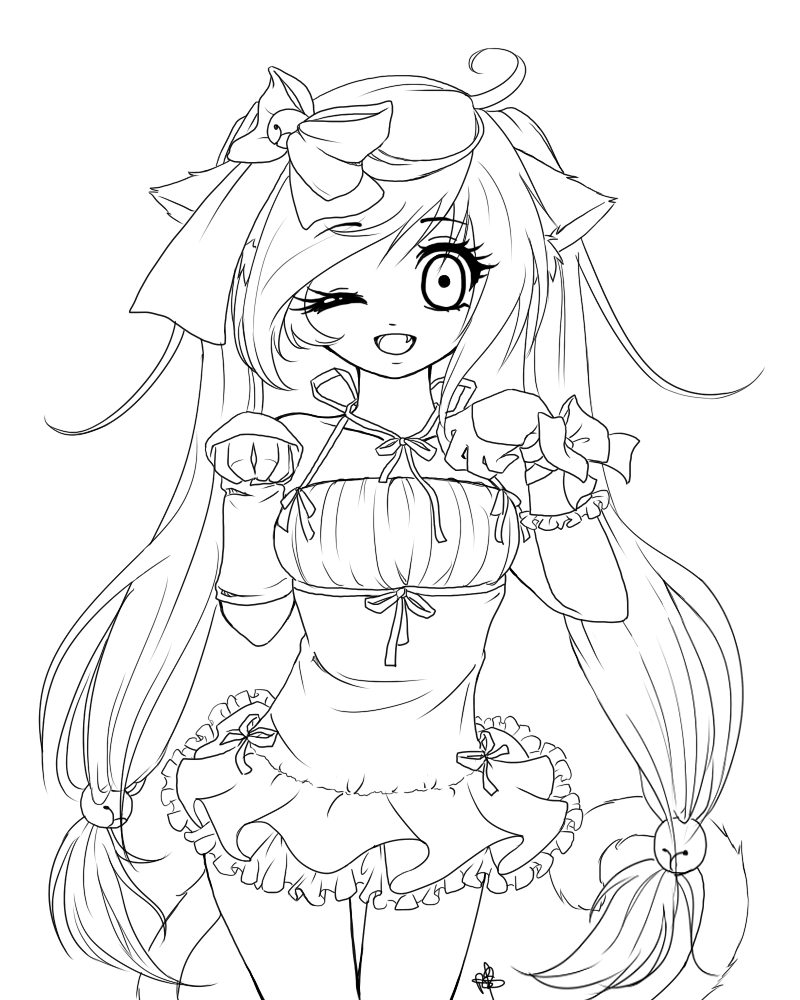 anime neko coloring pages | Anime Neko Maid Coloring Base Coloring Pages