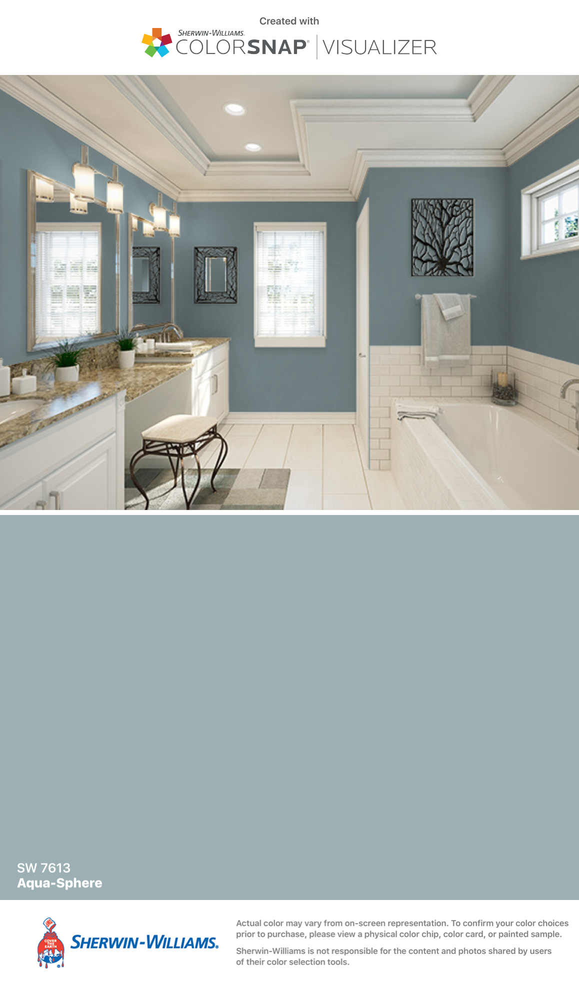 I Found This Color With Colorsnap Visualizer For Iphone By Sherwin Williams Aqua Sphere Sw 7613 Painting Bathroom Paint Colors For Home House