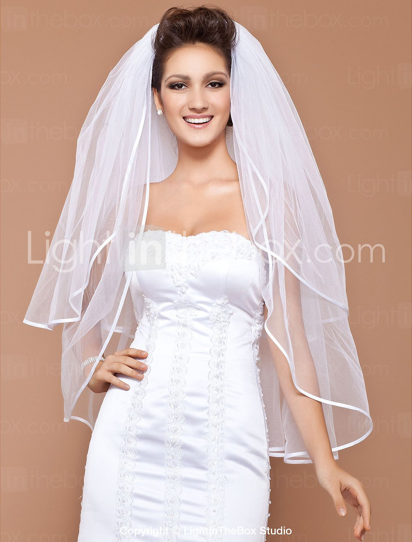 Twotier elbow wedding veil with ribbon edge veil and weddings