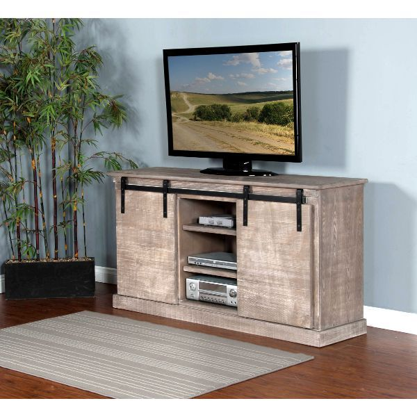 62 Inch Rustic Distressed Grey TV Stand