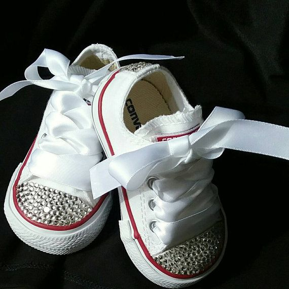 b977bc0212e7 White Converse Bling Crystals Toddler Sizes 2-10 Bedazzled