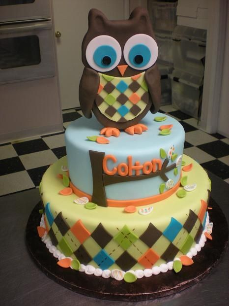 Owl boy cake Baby Boy Birthday Pinterest Boy cakes Cake and