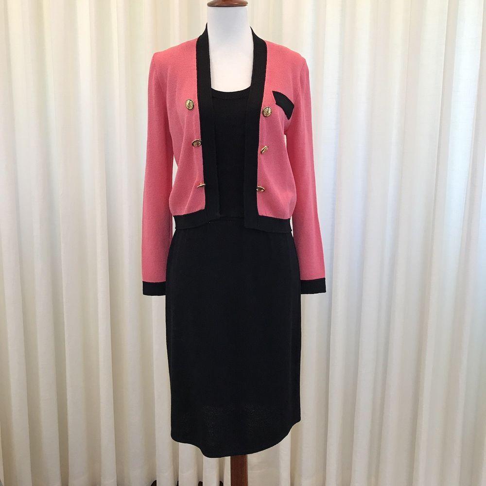 St John By Marie Gray Suit Santana Knit Pink Black Dress Jacket Vintage Size 2 Stjohn Dresssuit Black Dress Jacket Black And Pink Dress Jacket Dress [ 1000 x 1000 Pixel ]