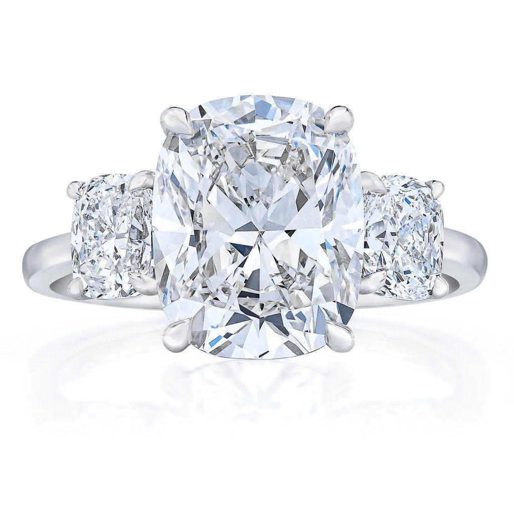 Whisper Thin 3 Stone Cushion Engagement Ring #cushionengagementring