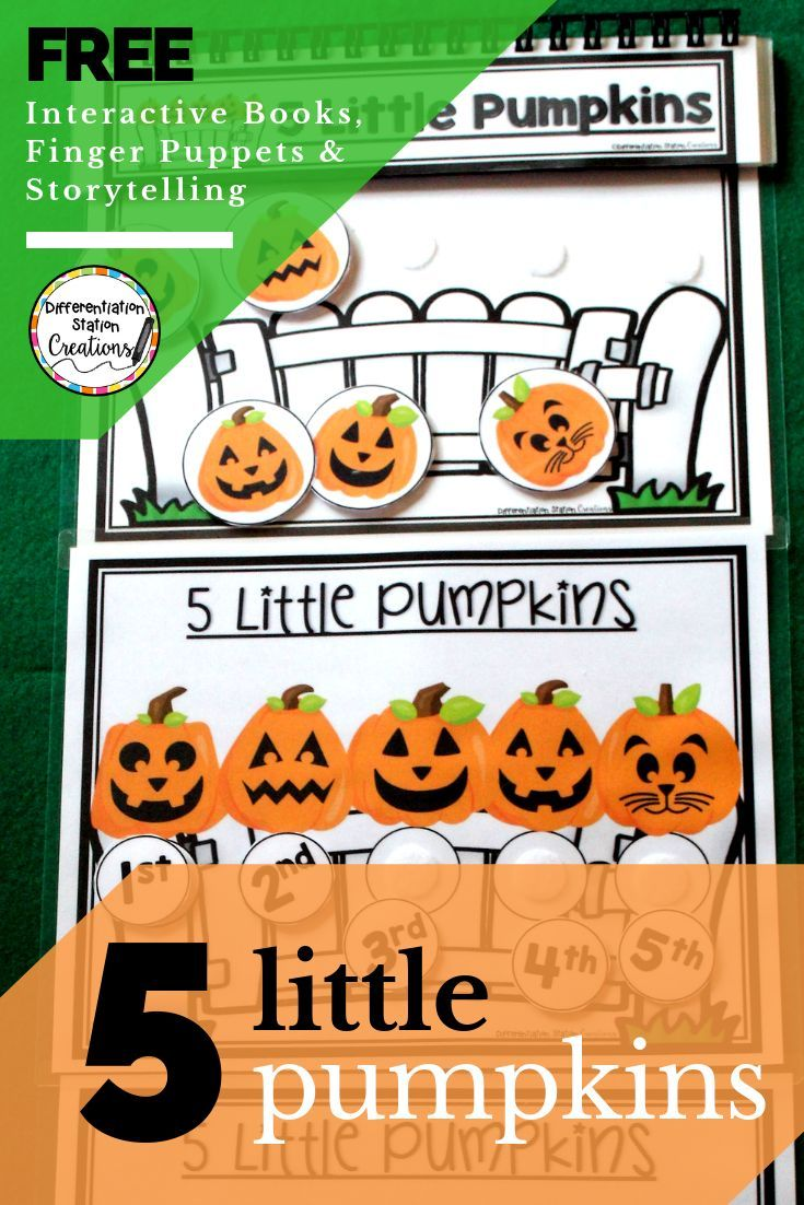 Free Five Little Pumpkins Storytelling Activities Practice Ordinal Numbers With An Interactive Bo Interactive Book Five Little Pumpkins Halloween Lesson Plans