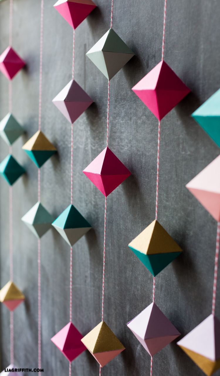 DIY Paper Geode Garland Origami wall art, Paper crafts