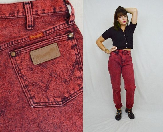 90s Wrangler Jeans Acid Wash 80s High Waist colored Red Black 26 ...
