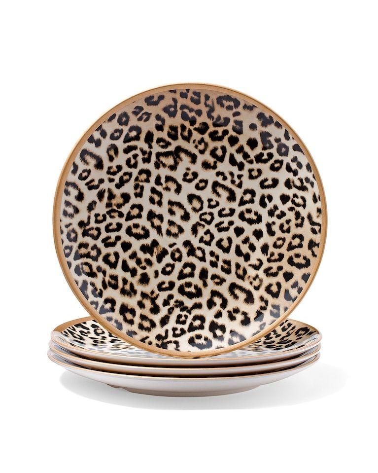 Chico S Large Leopard Print Plate Set Kitchen Decor Plates Leopard Print Decor Animal Print Decor