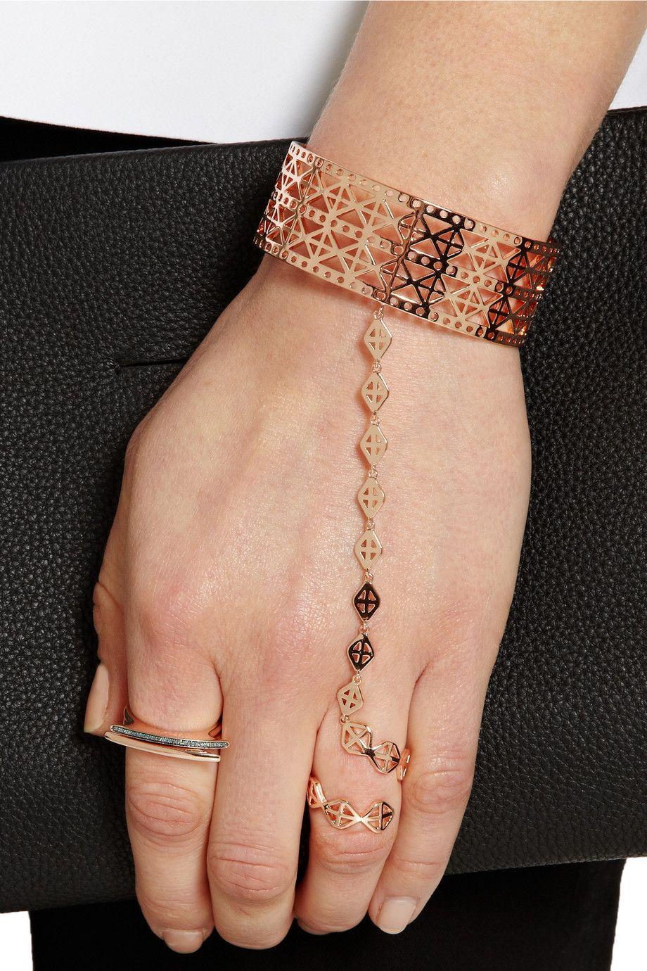 Arme De L'Amour Arme De Lamour Woman Rose Gold-plated Finger Bracelet Rose Gold Size uJMKb1wK9