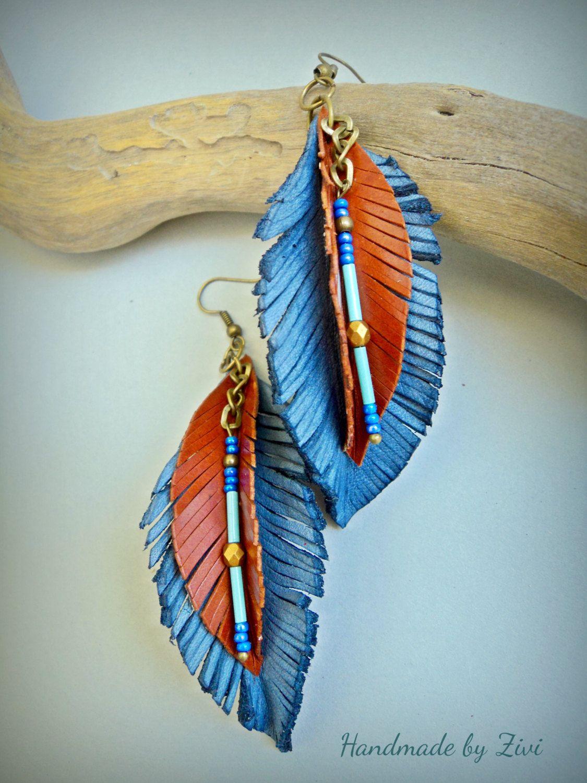 Photo of Long Leather Earrings, leaf earrings, blue earrings, leather earrings, brown earrings, earrings, leather jewelry, boho earrings, jewelry