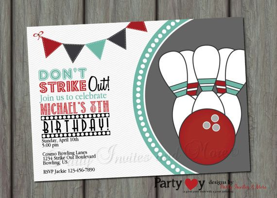 Bowling Birthday Invitation, Bowling Birthday Party, Bowling Pins - bowling invitation